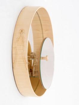 Spiegelschrank - Schloss mit Schnitzereien///mirror cabinet - lock with wood carvings