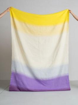 Decke mit Farbverlauf Gelb - Violett///Blanket with colour gradient yellow - violet